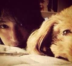 大倉が一緒に写っている犬の写真